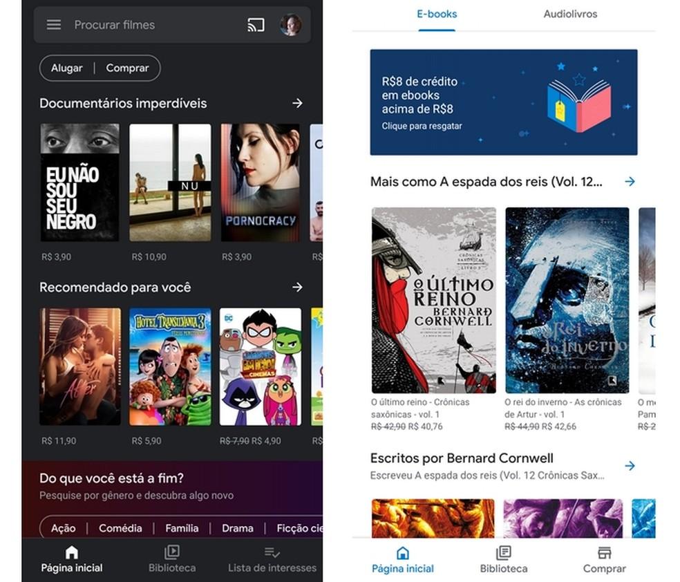 Aplicativos Google Play Filmes e Google Play Livros, disponíveis para Android e iPhone — Foto: Reprodução/Raquel Freire