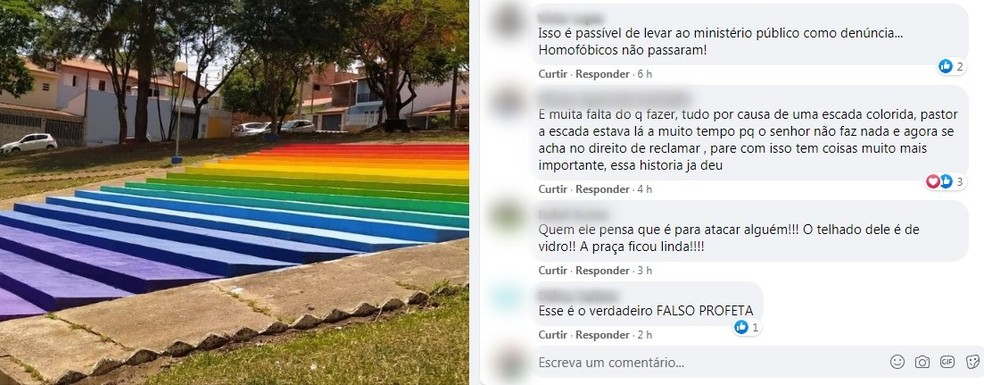 Moradores de Boituva repudiaram comentário de pastor após pintura da Praça da Bíblia — Foto: Facebook/Reprodução