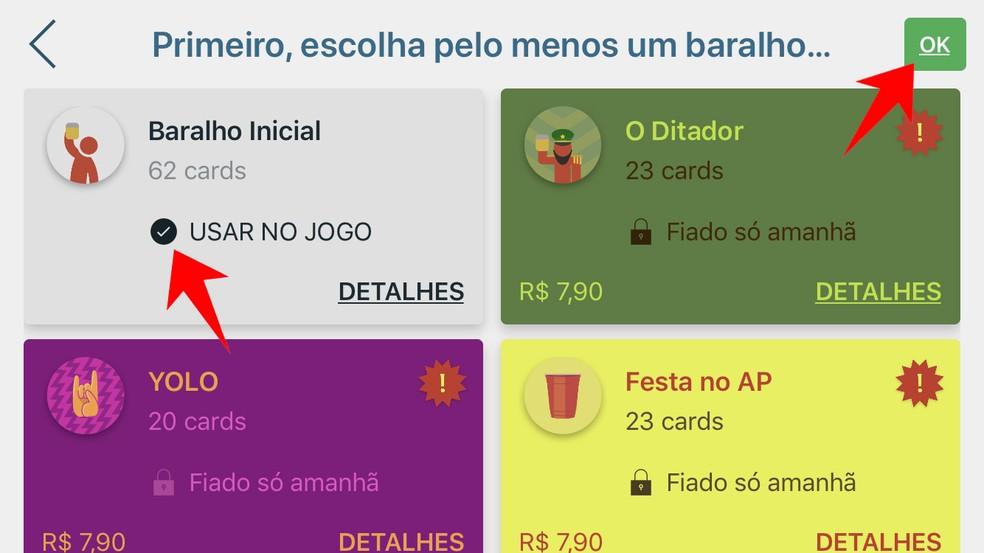 Escolha um dos diversos baralhos do iPuke com desafios diferentes para beber com os amigos — Foto: Reprodução/Rodrigo Fernandes