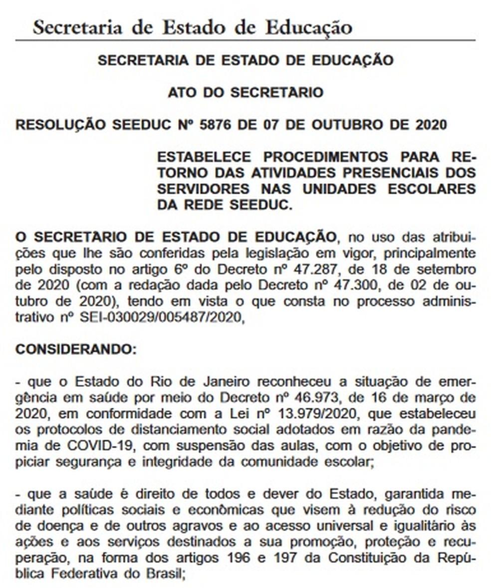 Procedimentos para o retorno às aulas na rede estadual foi publicado na edição de quinta (8) no Diário Oficial — Foto: Reprodução/ Diário Oficial