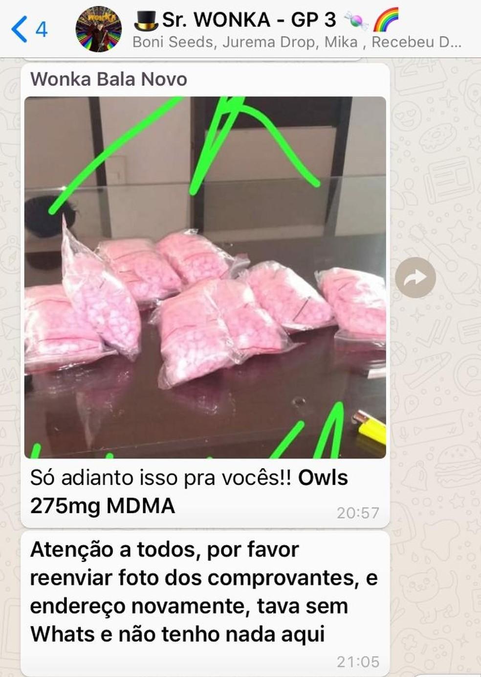 """Traficante conhecido como """"Sr. Wonka"""" mantinha grupos no WhatsApp para venda de drogas — Foto: Reprodução"""