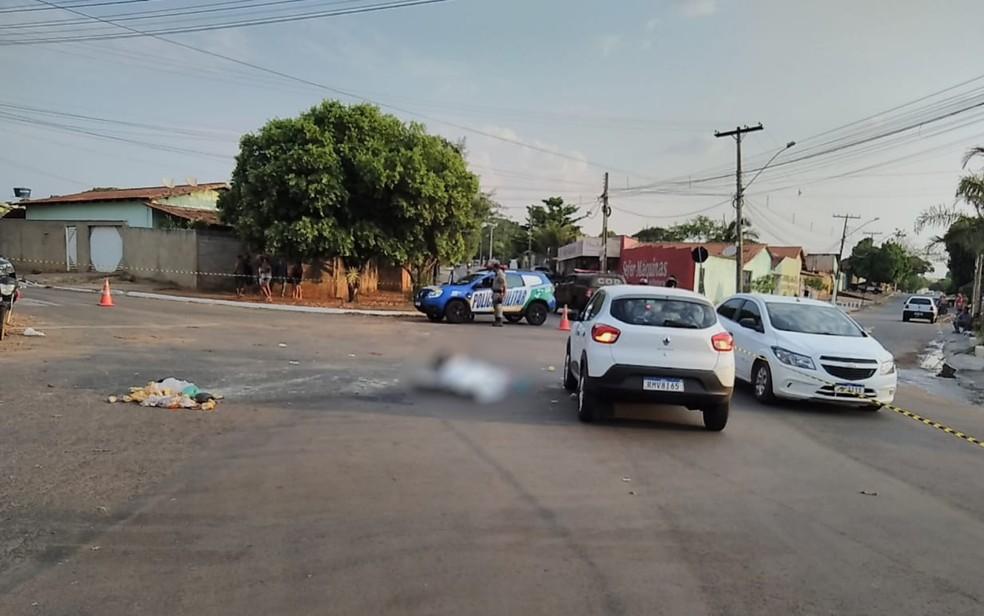 Motociclista morre ao ser atropelado por carro após cair da moto, em Goiânia — Foto: Polícia Civil/Divulgação