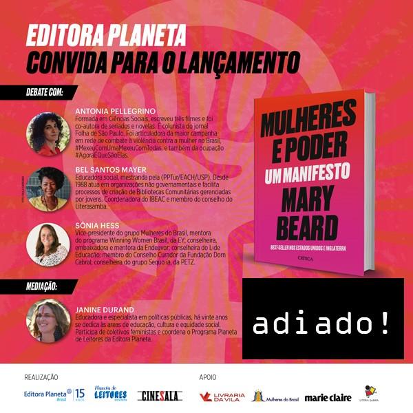 Convite Mulheres e poder adiado (Foto: Divulgação)