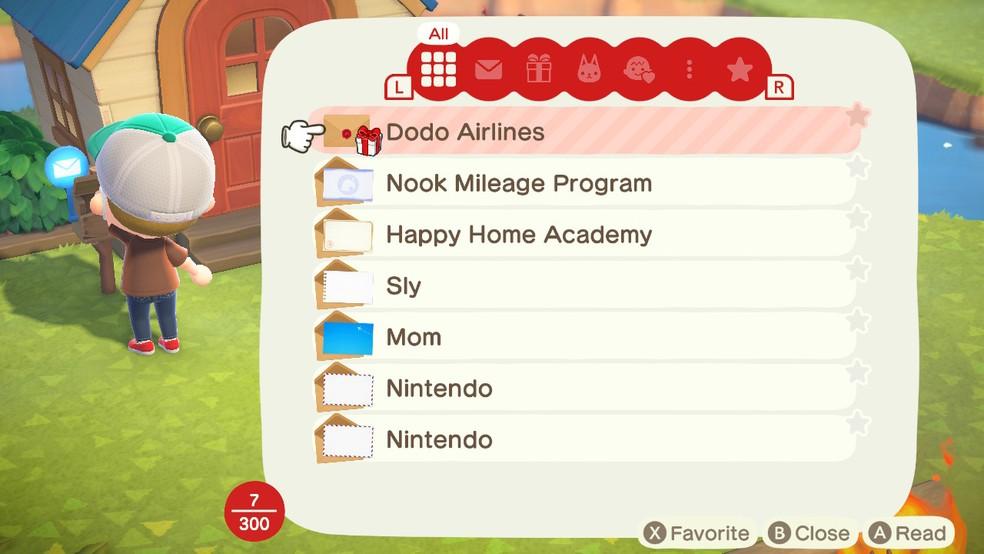O correio em Animal Crossing: New Horizons sempre pode trazer novidades — Foto: Reprodução/Felipe Vinha