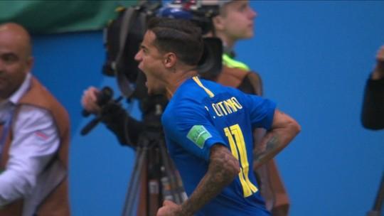 Gol do Brasil! Firmino escora na área e Coutinho bate de bico