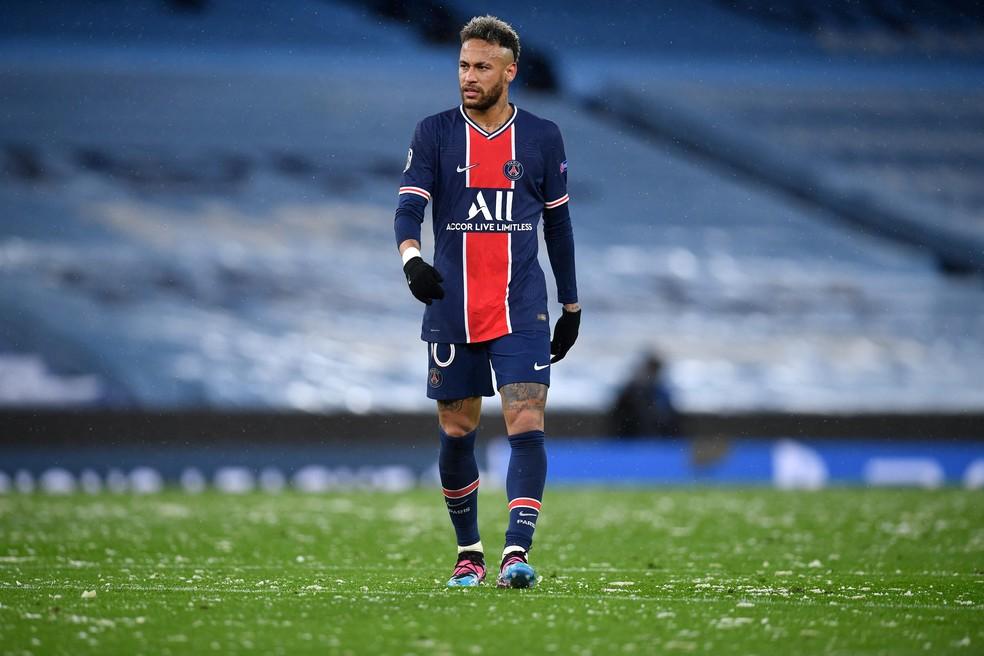Neymar na derrota do PSG para o Manchester City pela semifinal da Liga dos Campeões — Foto: Paul ELLIS / AFP