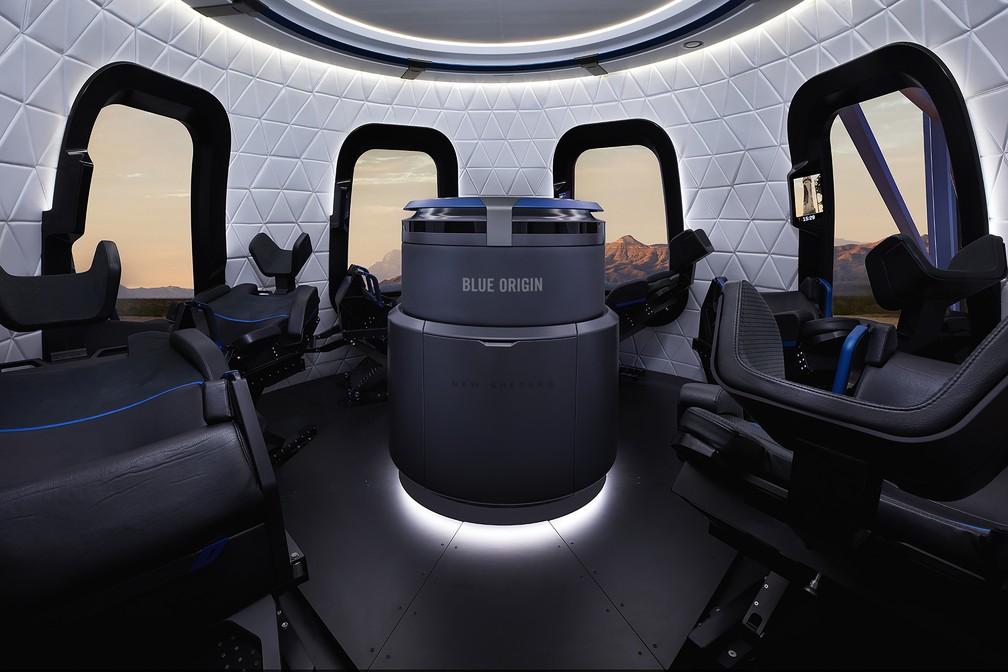 Interior da New Shepard, da Blue Origin — Foto: Michael Craft/Blue Origin via AP