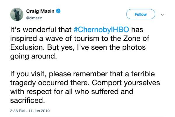 O pedido do criador da série Chernobyl pedindo que as pessoas respeitem o local no qual aconteceu o acidente nuclear em 1986 (Foto: Instagram)