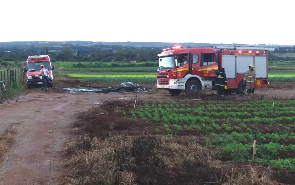 Homem morre após ser atingido por raio na zona rural do DF — Foto: Corpo de Bombeiros do DF/Divulgação