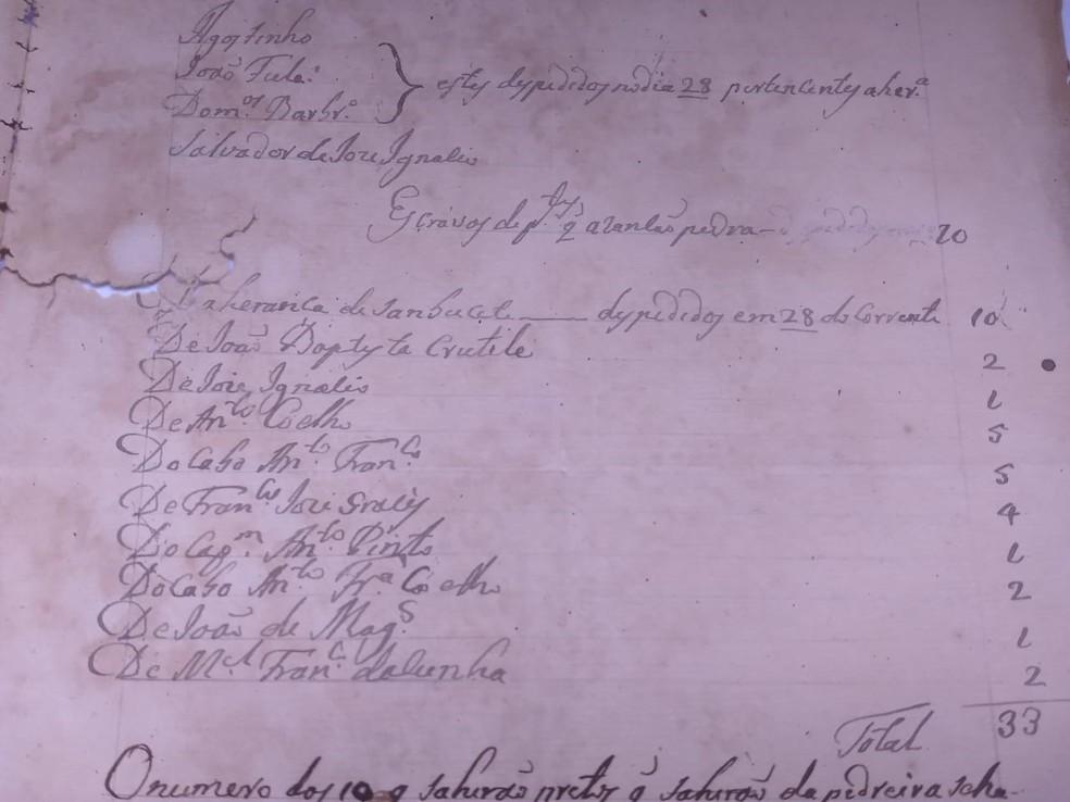Documento relata a chegada de escravos — Foto: Arquivo Público/Assessoria