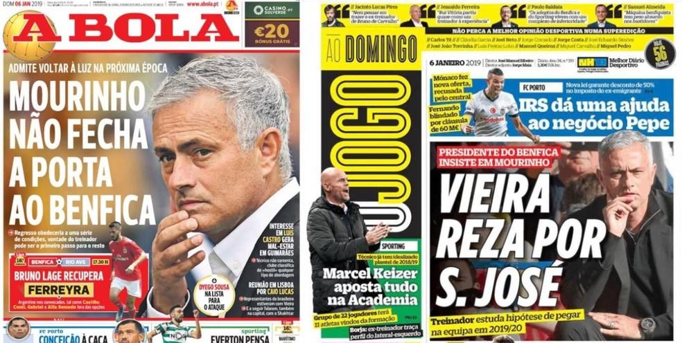 Jornais portugueses noticiam interesse do Benfica em Mourinho — Foto: Reprodução / A Bola / O Jogo