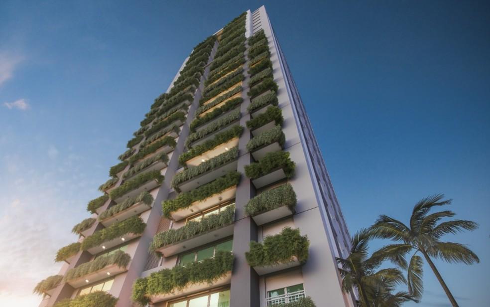 Edifício Eko Lifestyle EBM, possui estrutura com jardim vertical, em Goiânia — Foto: Divulgação