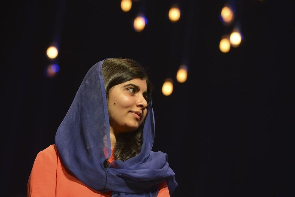 Malala discursa em evento em São Paulo nesta segunda-feira, 9 de julho (Foto: Rovena Rosa/Agência Brasil )