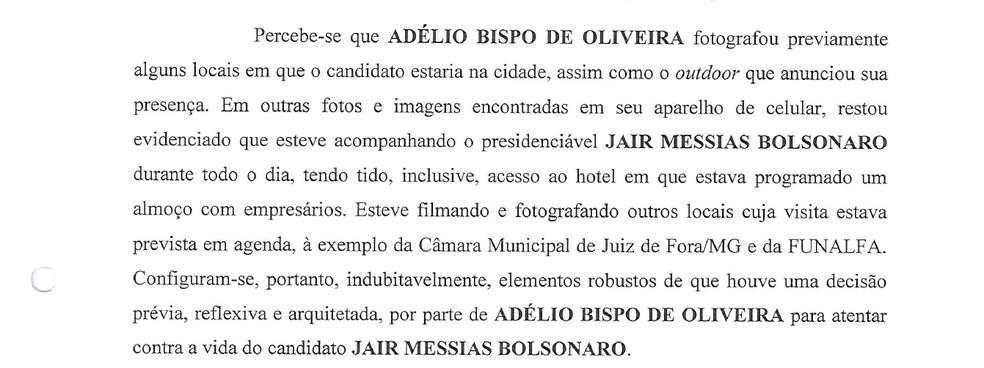 PF constatou que Adélio Bispo de Oliveira fotografou locais em que Bolsonaro estaria em Juiz de Fora — Foto: Reprodução