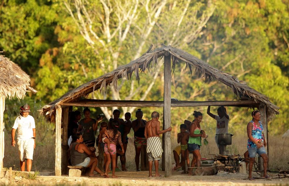 Indígenas Tembé Tenetehara, na aldeia Tekohaw no sudeste do Pará — Foto: Especial/Raimundo Paccó