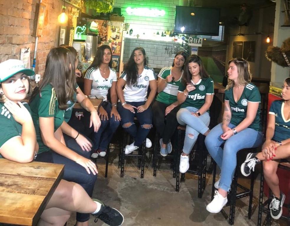 """""""Verdonnas"""", a torcida feminina do Palmeiras  — Foto: Felipe Ruiz"""