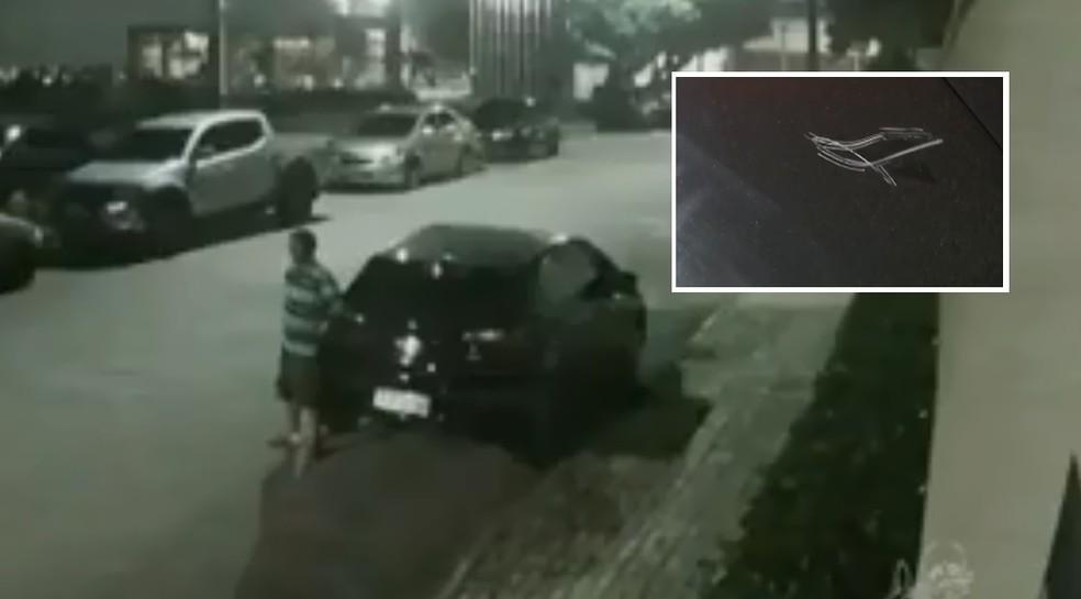 Mulher afirma que foi coagiada a dar gorjeta a flanelinha e teve o carro riscado por recusar (Foto: TV Vereds Mares/Reprodução)