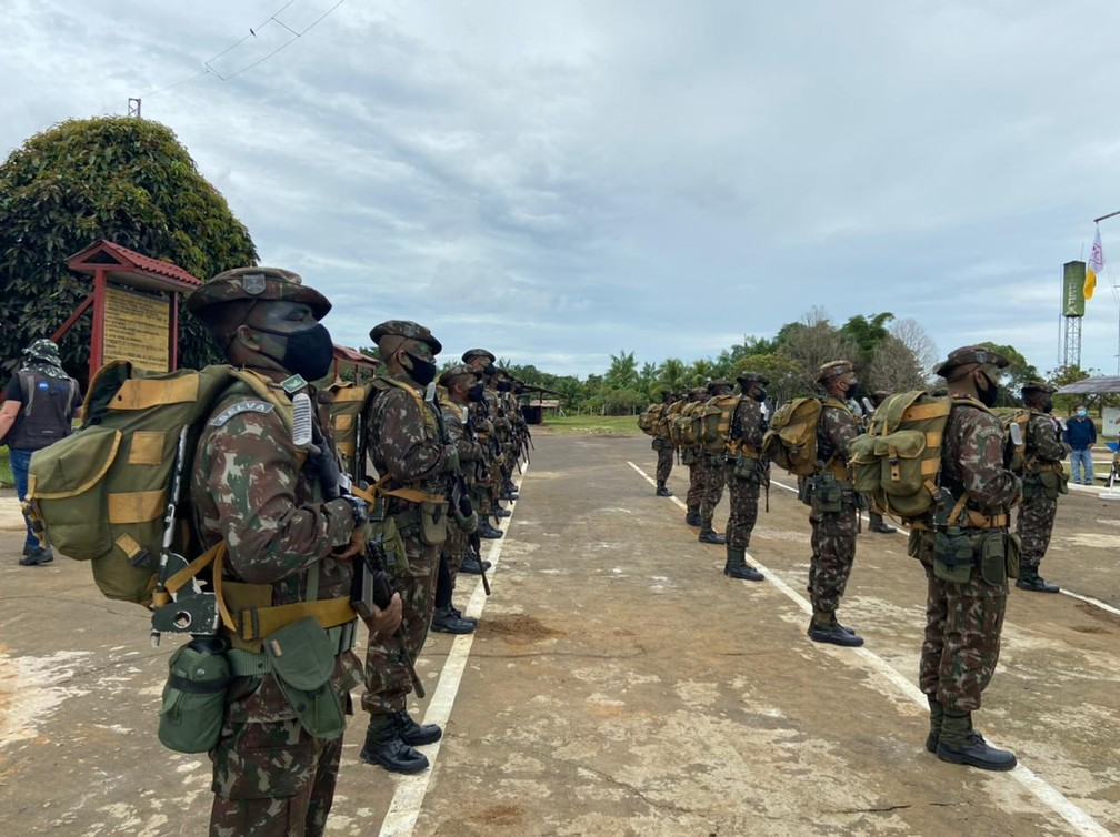 CALHA NORTE - 1º PEF no povo Iauaretê é composto por mais de 60 militares, no Amazonas.  — Foto: Mayara Subtil/Rede Amazônica