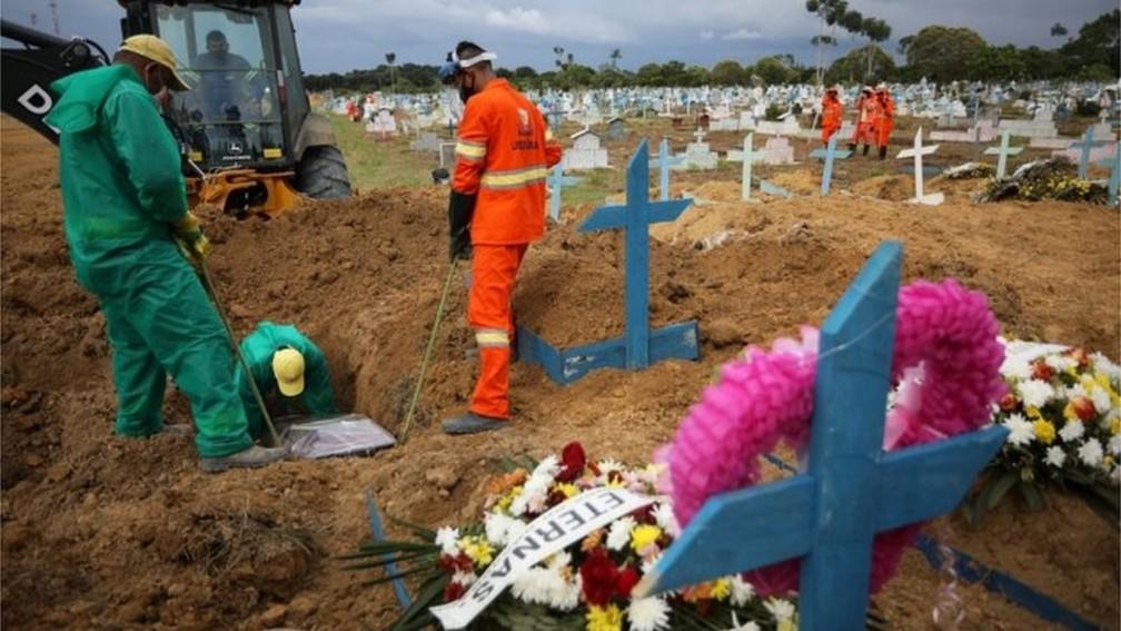 Em 2021, Manaus voltou a ter dezenas de enterros por causa da covid — Foto: Reuters