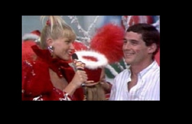 """Com Ayrton Senna, em 1988, no """"Xou da Xuxa"""" (Foto: Reprodução)"""