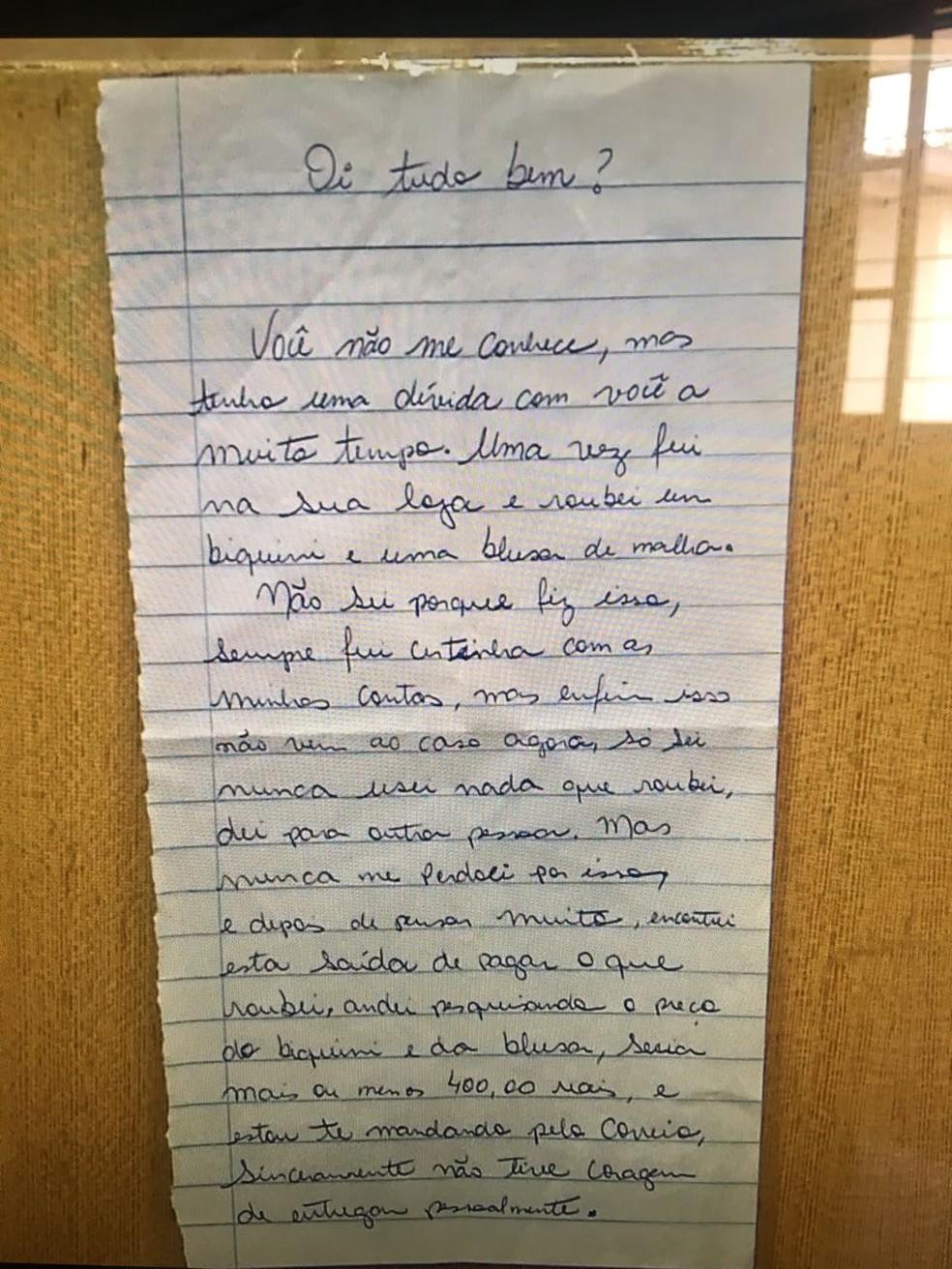 Carta foi escrita à mão (Foto: Mônica Dau/ TV Morena)