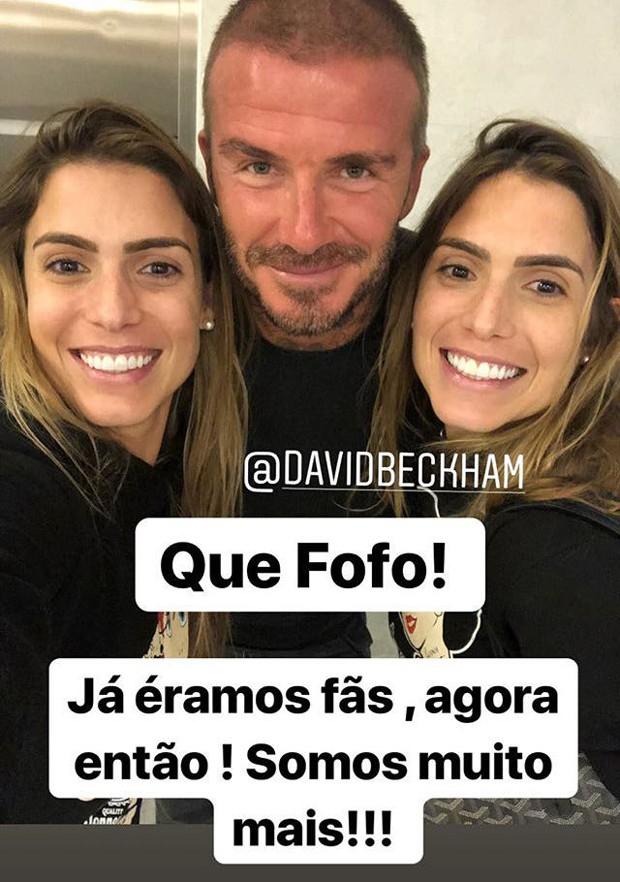 Bia e Branca Feres com David Beckham (Foto: Reprodução/Instagram)