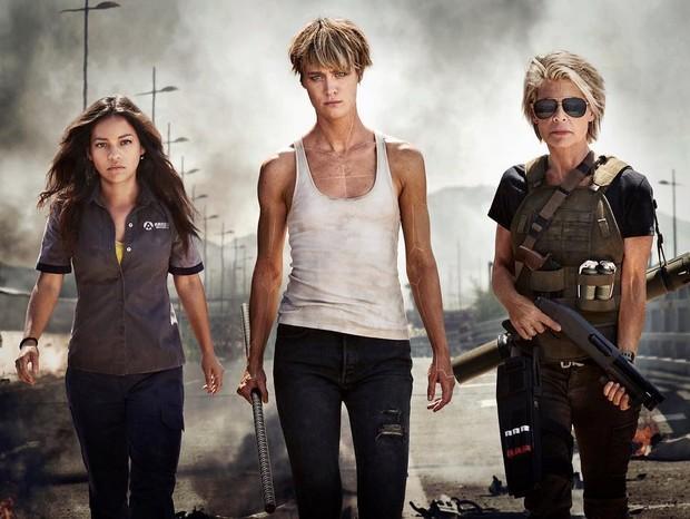 Natalia Reyes, Mackenzie Davis e Linda Hamilton em novo Exterminador do Futuro (Foto: Divulgação)