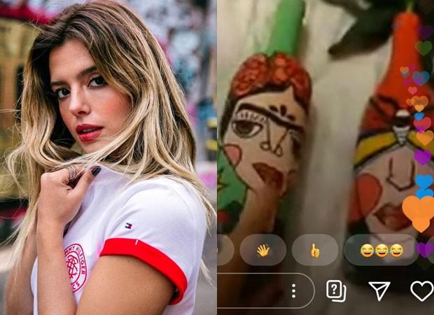 Giovanna Lancellotti e as garrafas que pintou (Foto: Reprodução/Instagram)