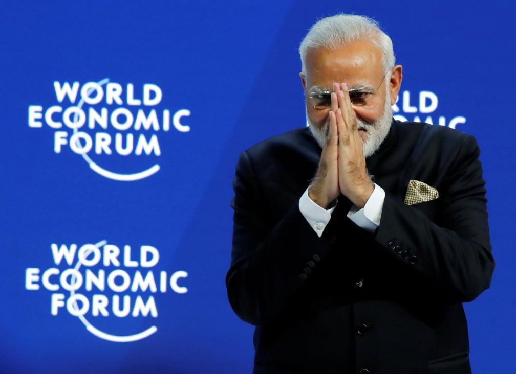Primeiro-ministro indiano Narendra Modi participa de abertura do FA?rum EconA?mico Mundial em Davos, na SuA�A�a. (Foto: Denis Balibouse/Reuters)