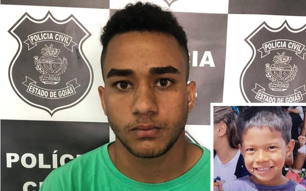 Servente de pedreiro Hian Alves de Oliveira disse à polícia que matou o menino Danilo Silva sozinho, em Goiás — Foto: Reprodução/TV anhanguera
