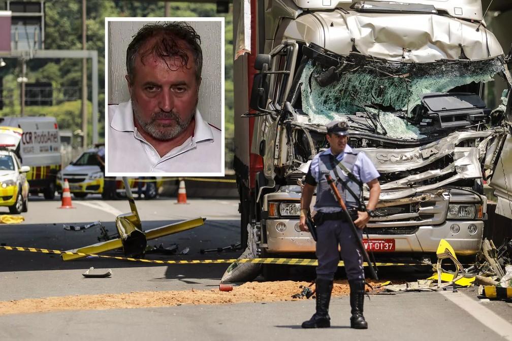 Motorista de caminhão que colidiu contra helicóptero em que estava Boechat — Foto: TV Globo/Reprodução e Marcelo Gonçalves/Sigmapress/Estadão Conteúdo
