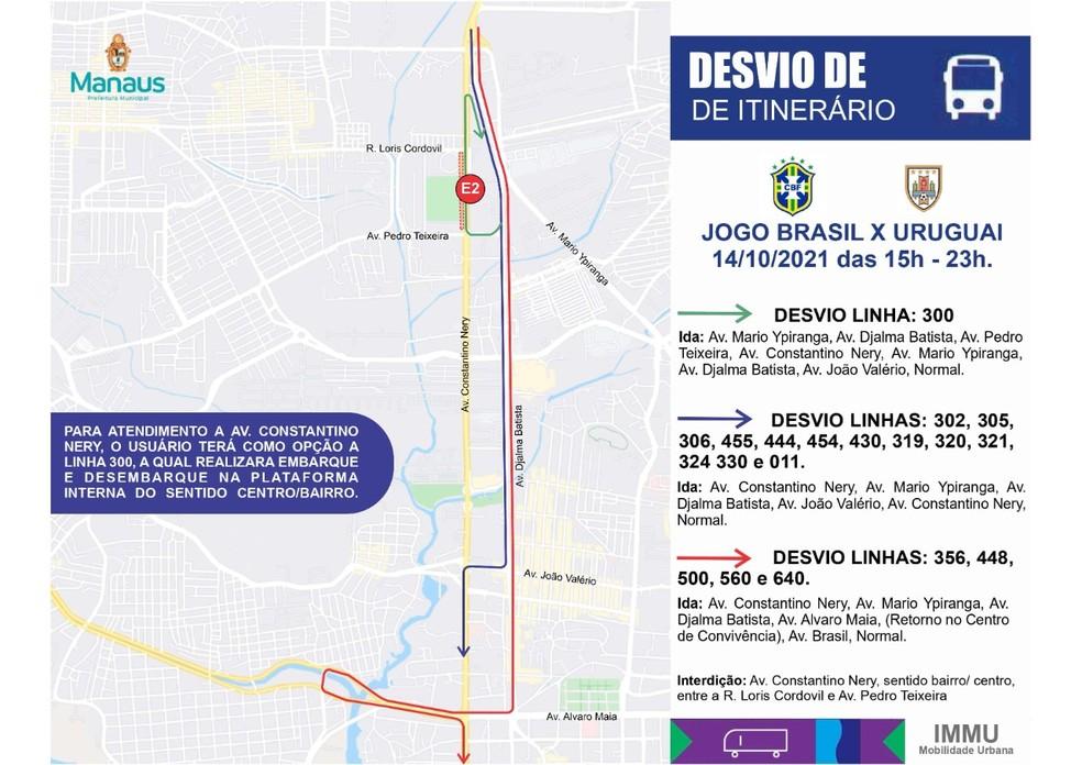Itinerário dos ônibus também serão alterados por conta do jogo do Brasil em Manaus. — Foto: Divulgação