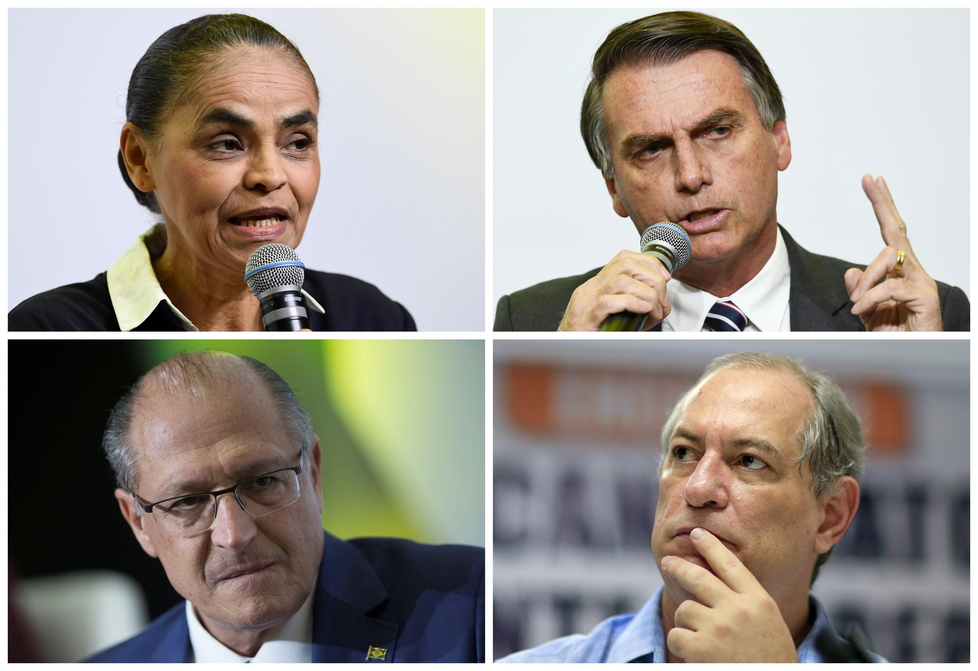 Marina Silva, Jair Bolsonaro, Geraldo Alckmin e Ciro Gomes