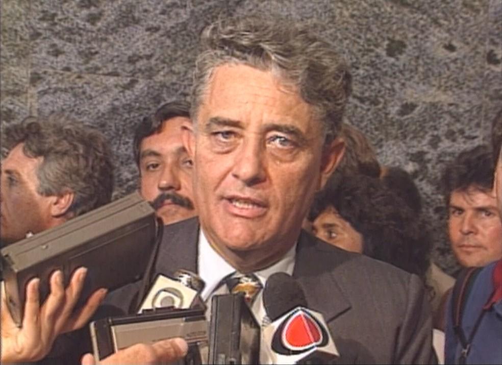 Imagem de arquivo do ex-governador Joaquim Roriz, em entrevista coletiva — Foto: Reprodução/TV Globo