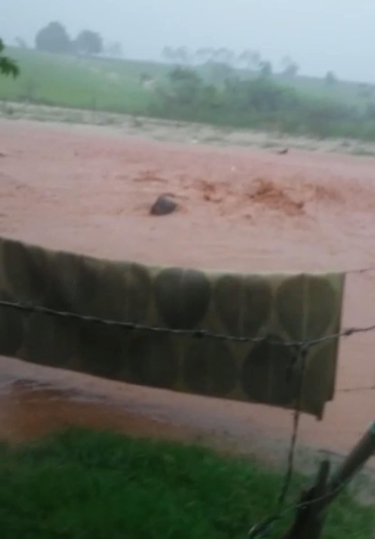 Pasto virou um 'córrego' por causa da chuva forte em Fernandópolis — Foto: Reprodução/TV TEM