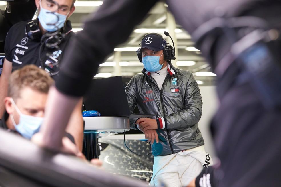 Valtteri Bottas no teste privado da Mercedes em Silverstone — Foto: Reprodução