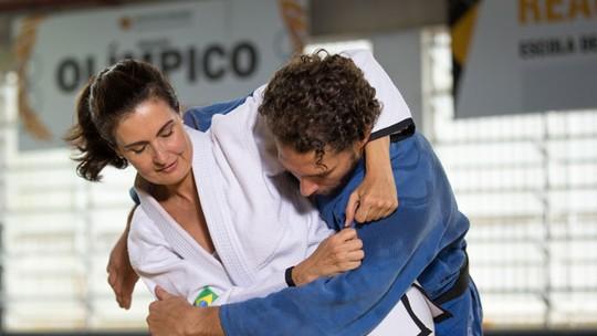 Fátima treina judô ao vivo com Flávio Canto para série olímpica do 'Encontro': 'Me diverti'