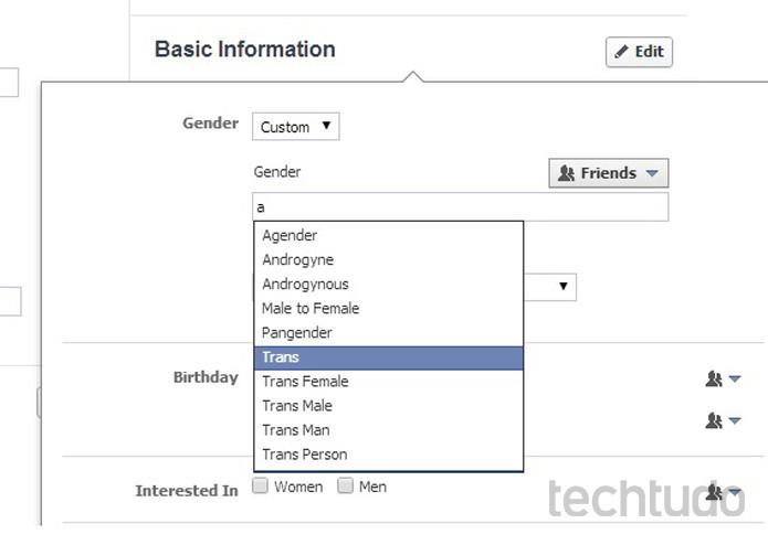 Facebook permite alteração de gênero no perfil (Foto: Reprodução/TechTudo)