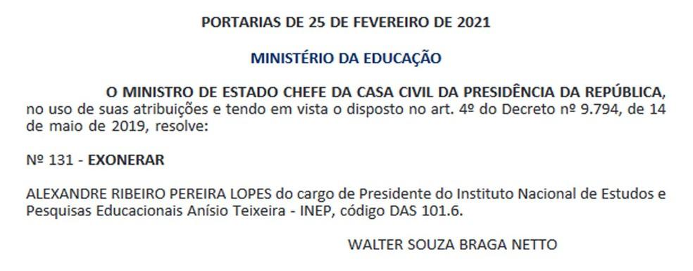 O presidente do Inep, Alexandre Ribeiro Pereira Lopes, foi exonerado do cargo nesta sexta-feira (26). — Foto: Reprodução / Diário Oficial da União