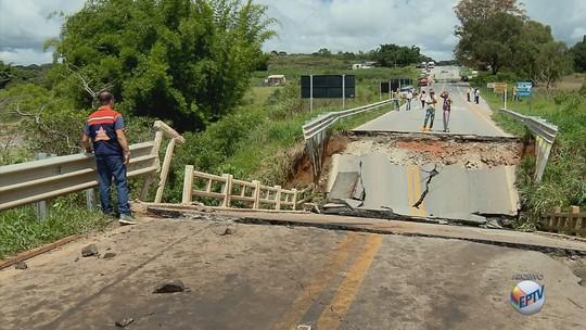 Dnit inicia obras de recuperação em ponte que caiu na BR-265, em Nazareno, MG