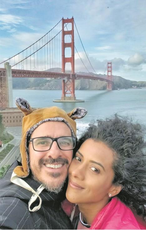 Rodrigo Cebrian e a namorada, a apresentadora da GloboNews Aline Midlej (Foto: Arquivo pessoal)