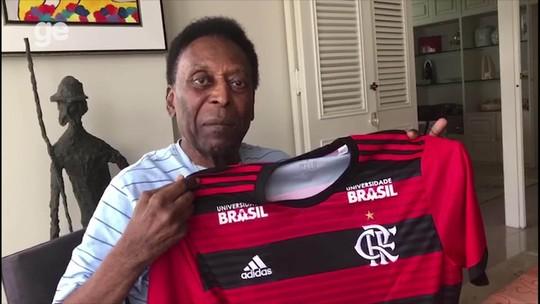 """Após deixar hospital, Pelé grava vídeo e lembra 40 anos de jogo pelo Flamengo: """"Honra grande"""""""