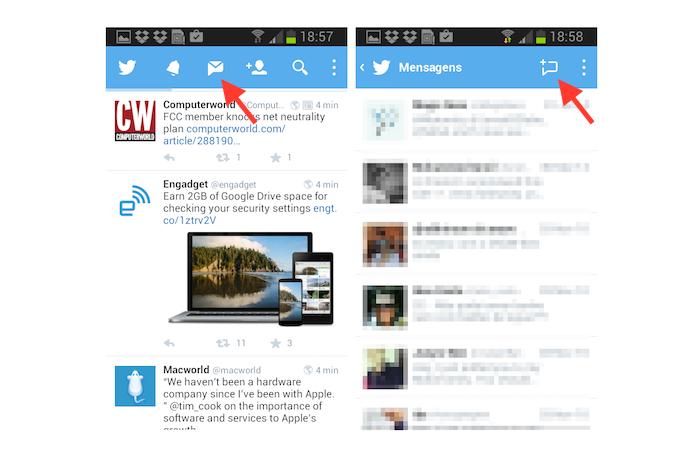 Acessando a ferramenta de criação de mensagens em grupo no Twitter para Android (Foto: Reprodução/Marvin Costa)