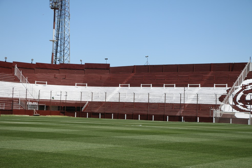 O espaço destinado para a torcida do Grêmio na quarta-feira (Foto: Eduardo Moura/GloboEsporte.com)