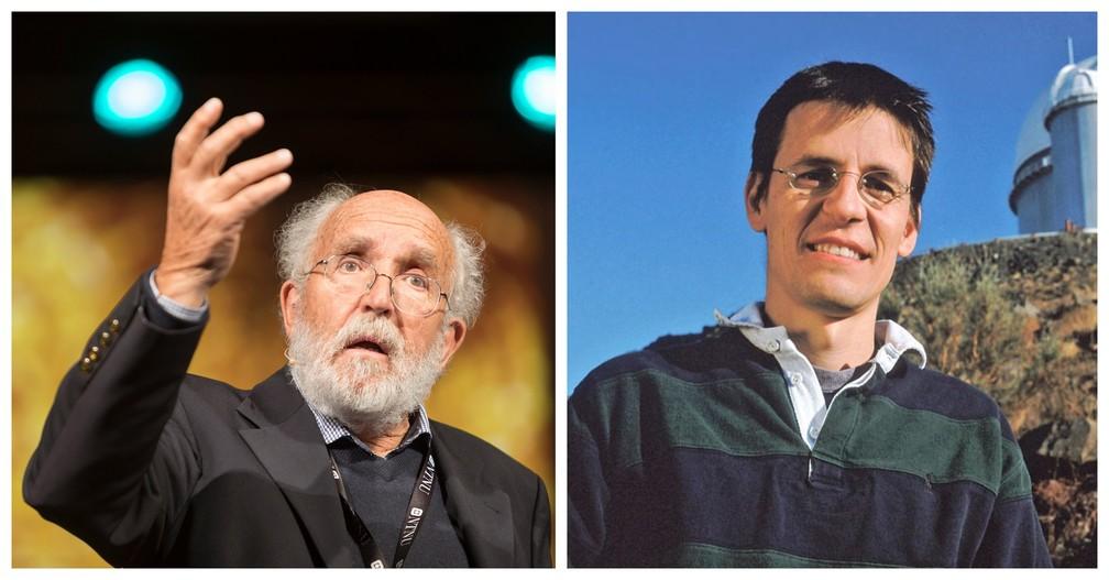 Vencedores do prêmio Nobel de Física de 2019 Michel Mayor (esq.) e Didier Queloz (dir.), ambos suíços. — Foto: Reprodução/Twitter Nobel Prize