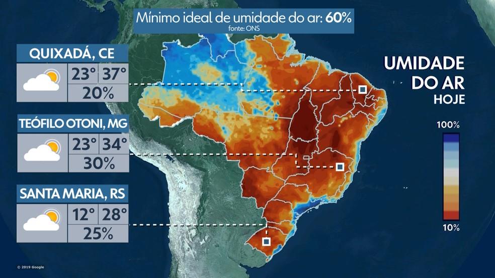 Umidade do ar hoje Brasil 08/10/19 — Foto: Reprodução TV GLOBO