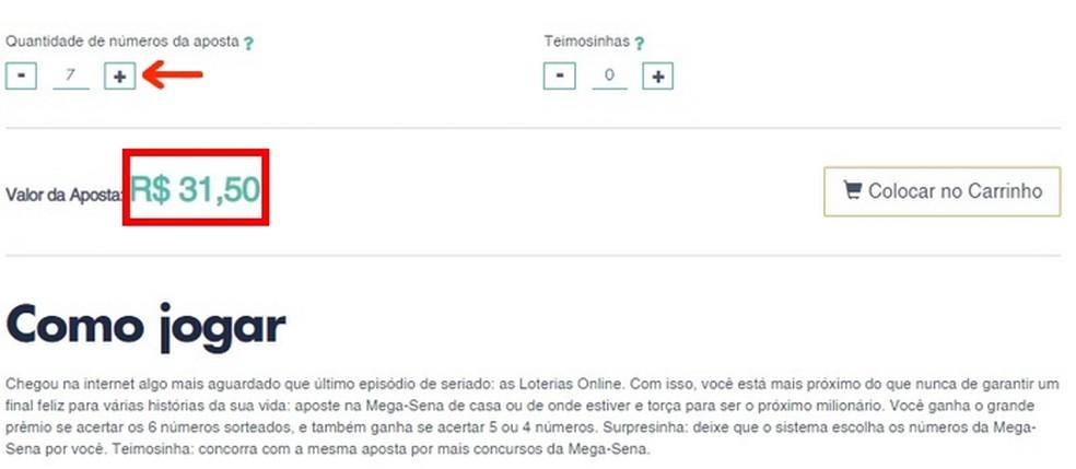 Aumento da quantidade de números para aposta online na Mega da Virada  — Foto: Reprodução/Raquel Freire
