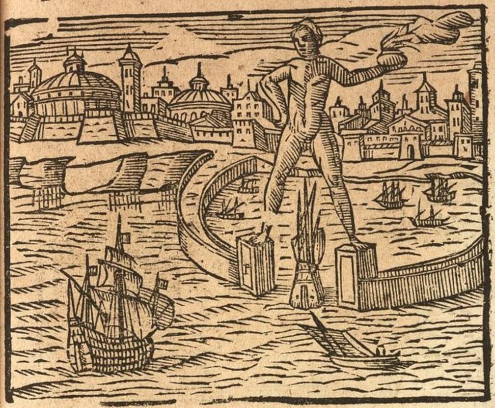Voltado para o porto, Hélio tinha cerca de 32 metros de altura, e possivelmente segurava uma tocha ou lança — Foto: Getty Images via BBC