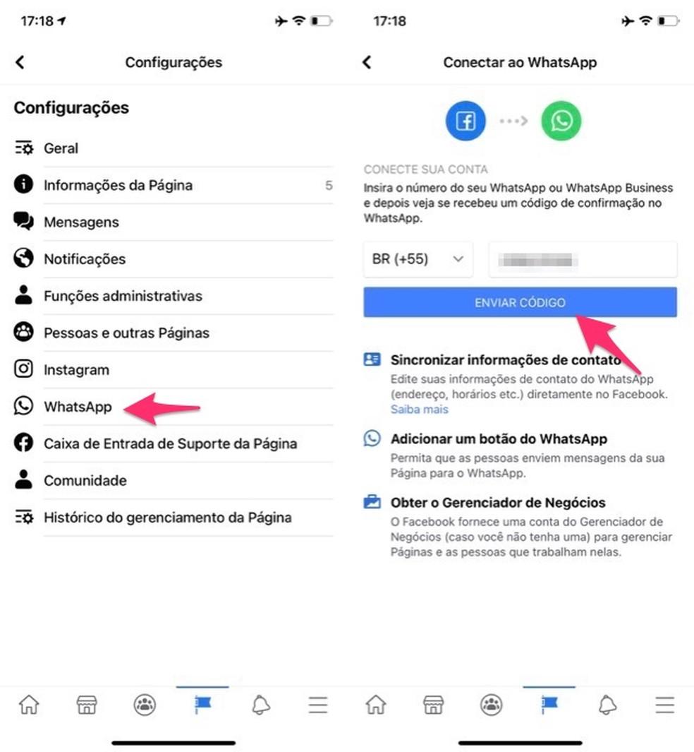 Ação para iniciar a configuração do WhatsApp em uma fanpage do Facebook — Foto: Reprodução/Marvin Costa