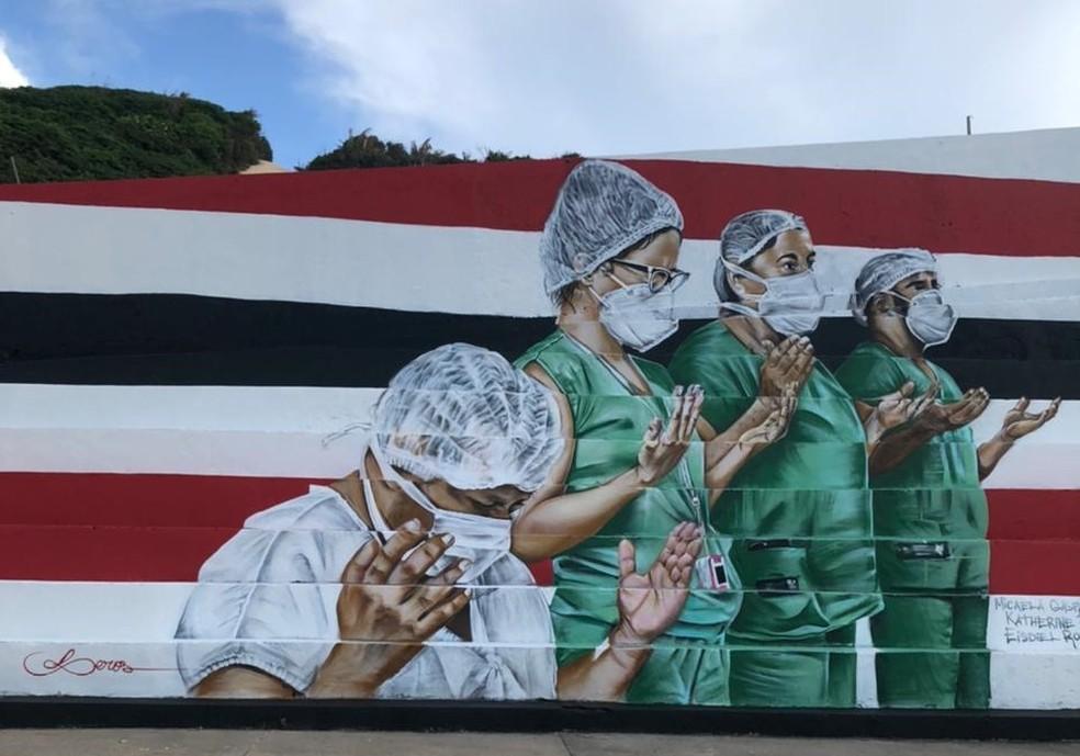 Profissionais da saúde são homenageados em mural que mistura arte urbana, tecnologia e esperança em dias melhores — Foto: Divulgação/Governo do Maranhão